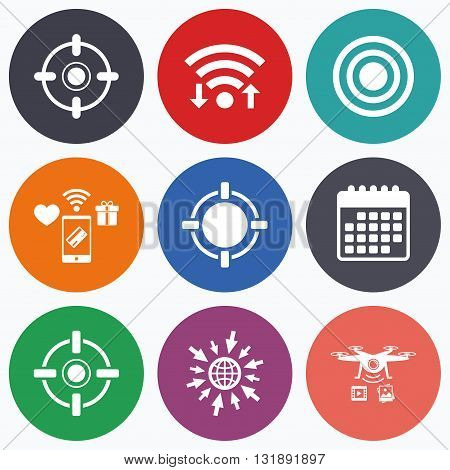 Wifi, mobile payments and drones icons. Crosshair icons. Target aim signs symbols. Weapon gun sights for shooting range. Calendar symbol.
