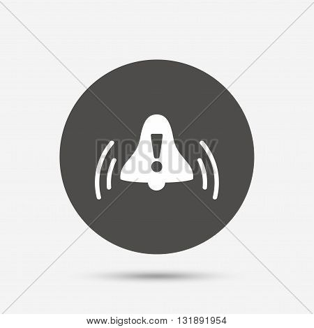 Alarm bell with exclamation mark sign icon. Wake up alarm symbol. Gray circle button with icon. Vector