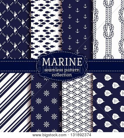 Set of marine and nautical backgrounds in navy blue and white colors. Sea theme. Elegant seamless patterns collection. Vector illustration.