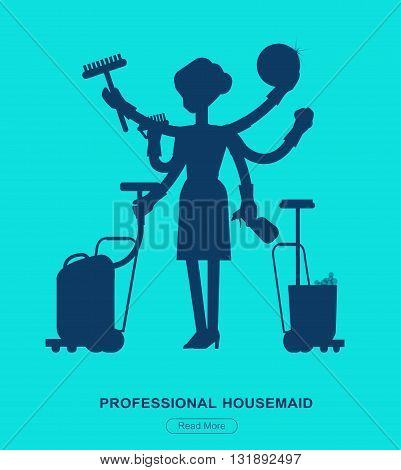 Poster design for cleaning service and supplies. Vector silhouette character professional housekeeper. Cleaning kit icons