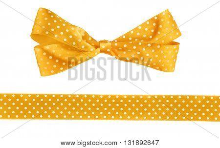 Orange bow and ribbon isolated on white
