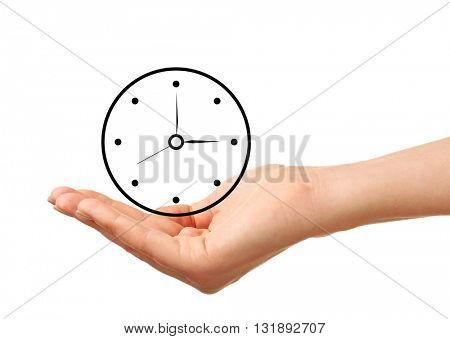 Female hand holding a clock isolated on white