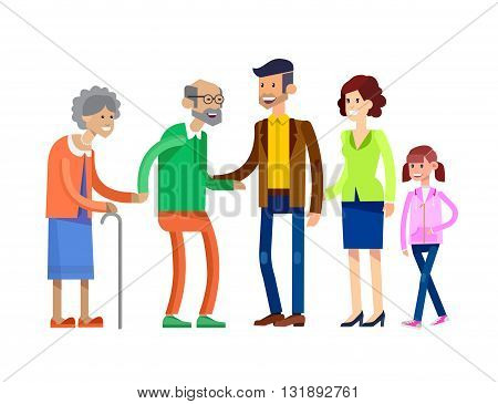 Detailed character people family, old parents and adult son with his wife and daughter. Family illustration. Grandmother, grandfather and granddaughter. Vector Family isolated on white background