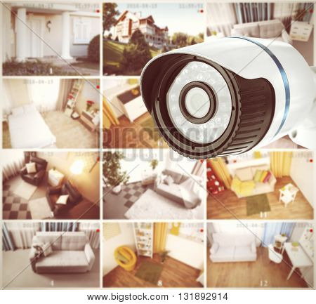 Security camera in home. Home security system concept