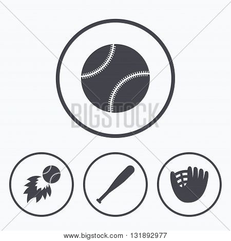 Baseball sport icons. Ball with glove and bat signs. Fireball symbol. Icons in circles.
