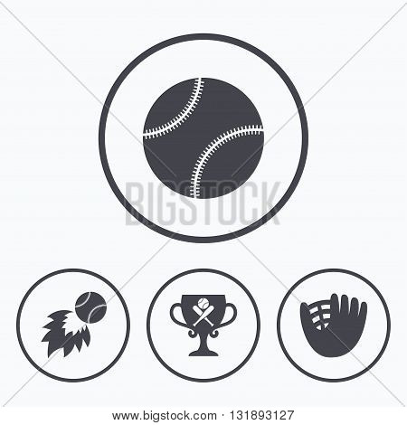Baseball sport icons. Ball with glove and two crosswise bats signs. Fireball with award cup symbol. Icons in circles.