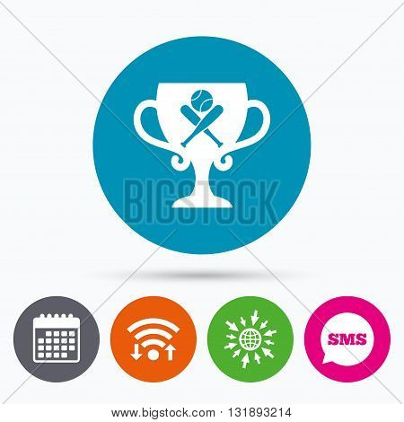 Wifi, Sms and calendar icons. Baseball bats and ball sign icon. Sport hit equipment symbol. Winner award cup. Go to web globe.