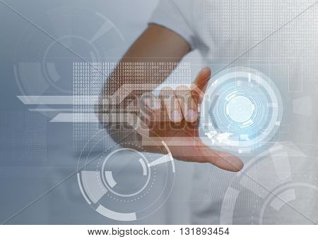 Male hand working with virtual screen. Modern technology and business strategy concept