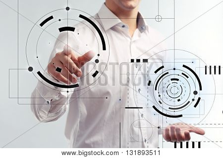 Businessman hand working with virtual screen. Modern technology and business strategy concept