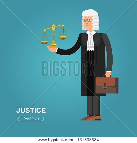 Law Vector detailed character the judge. Law cool flat  illustration judge, judge vector. Illustration judge. Character  judge