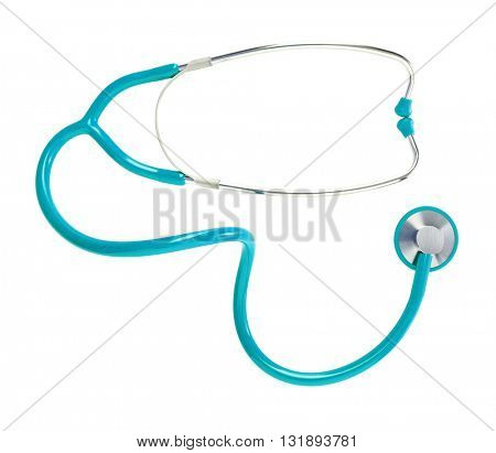 Blue medical stethoscope isolated on white