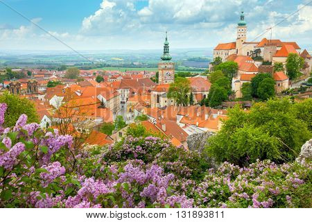 Picturesque Old European Town with castle, clock and flowers - Mikulov, Czech, Europe