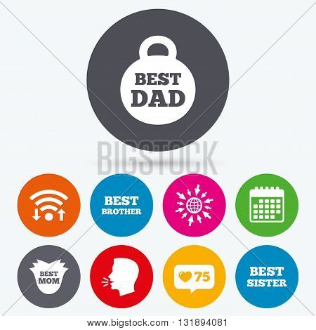 Wifi, like counter and calendar icons. Best mom and dad, brother and sister icons. Weight and flower signs. Award symbols. Human talk, go to web.