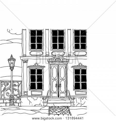 house drawing with details for adult coloring book or for zen art therapy anti stress drawing. Hand-drawn, vector, very detailed, for coloring book, poster design, uncolored