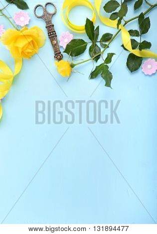 Summertime Background With Decorated Borders.