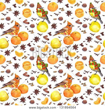 Species and fruits for cook: nutmeg, cloves, anise, cinnamon and others. . Repeated watercolor wallpaper.