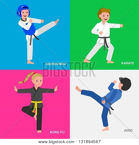 Cute vector character child. Illustration for martial art taekwondo, karate, judo, kung fu. Kid wearing kimono and training. Child take fighting pose