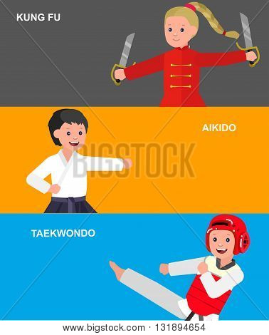Cute vector character child. Illustration for martial art taekwondo, aikido, kung fu. Kid wearing kimono and training. Child take fighting pose