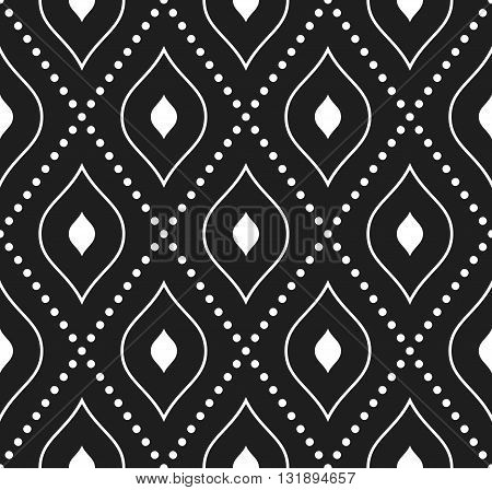Geometric repeating dark ornament with white diagonal dotted lines. Seamless abstract modern pattern