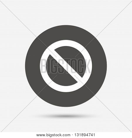 Blacklist sign icon. User not allowed symbol. Gray circle button with icon. Vector