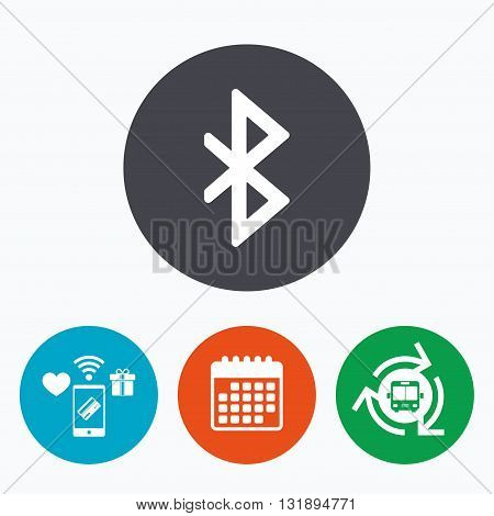Bluetooth sign icon. Mobile network symbol. Data transfer. Mobile payments, calendar and wifi icons. Bus shuttle.