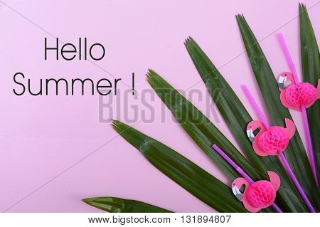 Summertime Theme Background On Pink Wood.