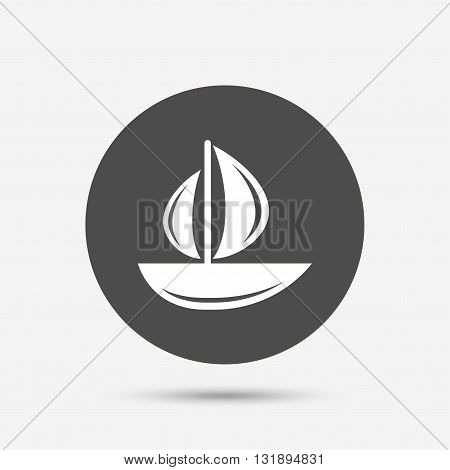 Sail boat icon. Ship sign. Shipment delivery symbol. Gray circle button with icon. Vector