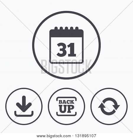 Download and Backup data icons. Calendar and rotation arrows sign symbols. Icons in circles.