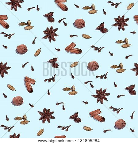 Species for cook: nutmeg, cloves, anise, cinnamon and others. Repeated seamless watercolor wallpaper isolated