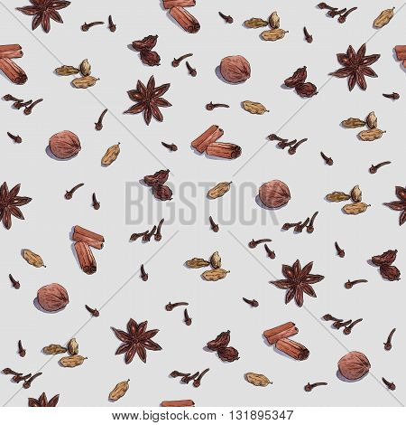 Species for cook. Repeated seamless watercolor wallpaper isolated