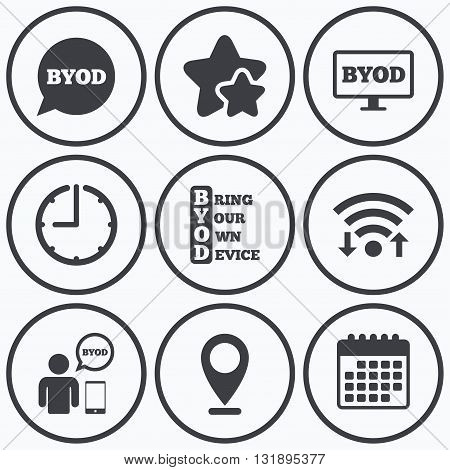 Clock, wifi and stars icons. BYOD icons. Human with notebook and smartphone signs. Speech bubble symbol. Calendar symbol.