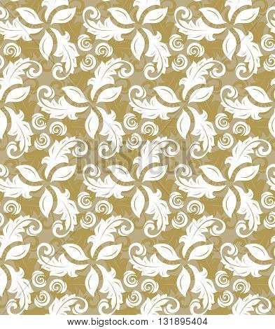 Floral golden and white ornament. Seamless abstract classic fine pattern