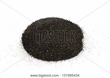 Pile of Black islandic sand macro photo studio