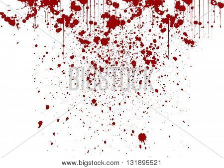 vector splatter painted detail in red color on white background