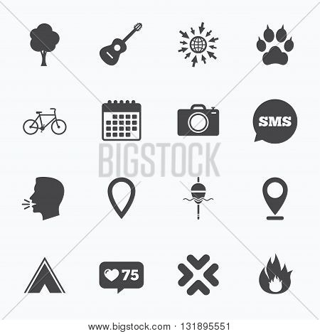 Calendar, go to web and like counter. Tourism, camping icons. Fishing, fire and bike signs. Guitar music, photo camera and paw with clutches. Sms speech bubble, talk symbols.