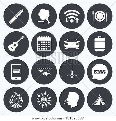 Wifi, calendar and mobile payments. Hike trip, camping icons. Fishing, campfire and tourist tent signs. Guitar music, knife and food symbols. Sms speech bubble, go to web symbols.