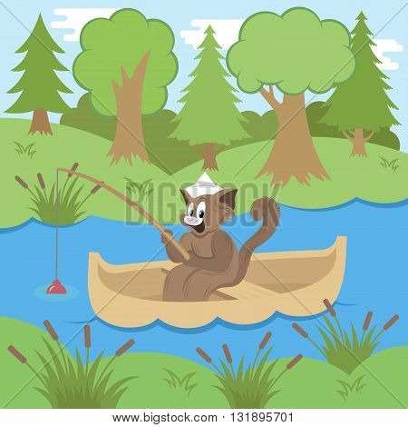 Cat on a boat fishing in a pond - vector illustration. Cat fishing in forest.