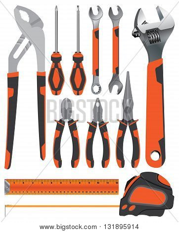 Object tool. Pliers with Wrench and Screwdriver on a orange and dark grey isolated on white background. Tool service.