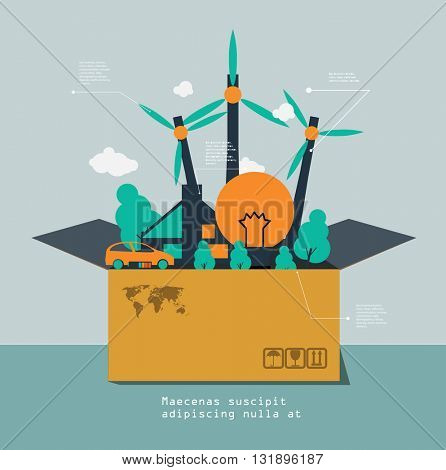Vector isometric box with industry green energy inside.