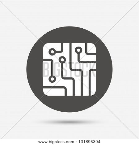 Circuit board sign icon. Technology scheme square symbol. Gray circle button with icon. Vector