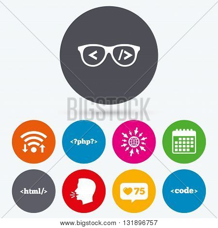 Wifi, like counter and calendar icons. Programmer coder glasses icon. HTML markup language and PHP programming language sign symbols. Human talk, go to web.