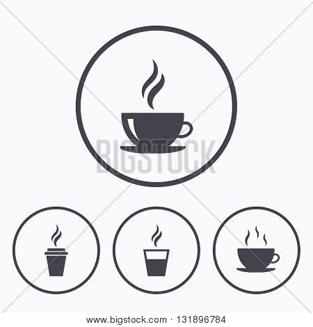 Coffee cup icon. Hot drinks glasses symbols. Take away or take-out tea beverage signs. Icons in circles.