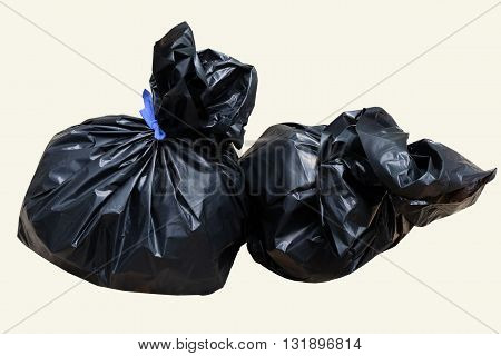 black  garbage isolated  in the  white  background
