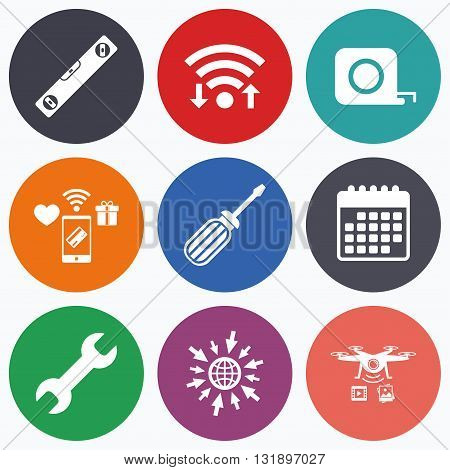 Wifi, mobile payments and drones icons. Screwdriver and wrench key tool icons. Bubble level and tape measure roulette sign symbols. Calendar symbol.