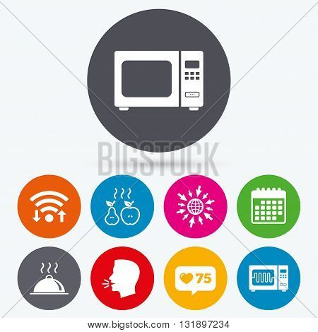 Wifi, like counter and calendar icons. Microwave grill oven icons. Cooking apple and pear signs. Food platter serving symbol. Human talk, go to web.