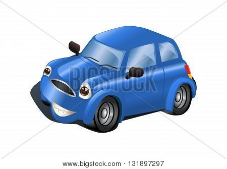 illustration of a blue car on isolated white background