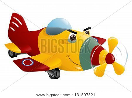 illustration of a red and yellow commercial plane flying on isolated white background
