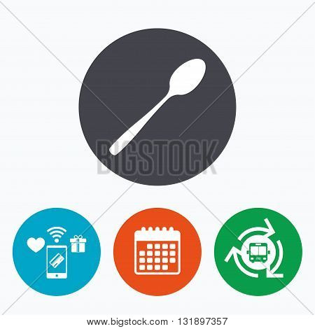 Eat sign icon. Cutlery symbol. Diagonal dessert teaspoon. Mobile payments, calendar and wifi icons. Bus shuttle.