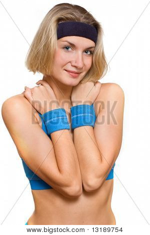 Blond girl with blue wristbands