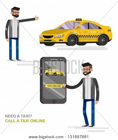 Vector detailed character men with phone taxi hire service application running, taxi creative infographics, taxi design on public taxi service, taxi application featuring yellow taxi. Vector taxi